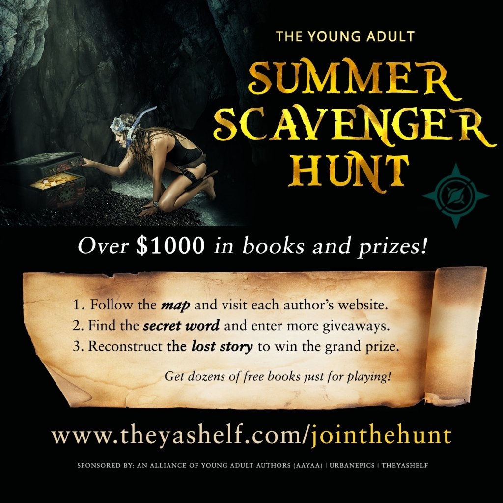 "Young Adult Fiction Summer Scavenger Hunt 2017: 1. Follow the map and visit each young adult author's website. 2. Find the secred word and enter more giveaways. 3. Reconstruct the ""lost story"" to win the grand prize. Get dozens of free books just for playing!"
